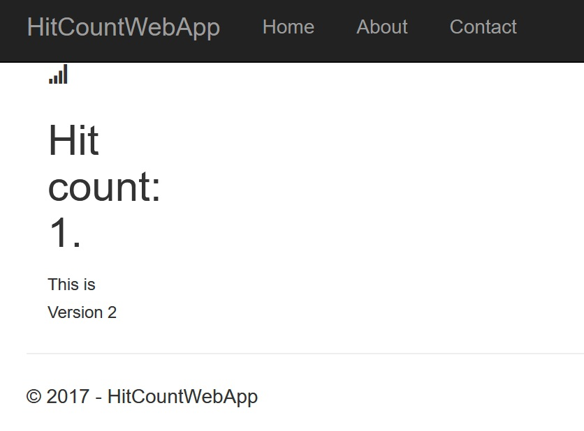 ASP.NET Core hitcount website running in Docker on Windows
