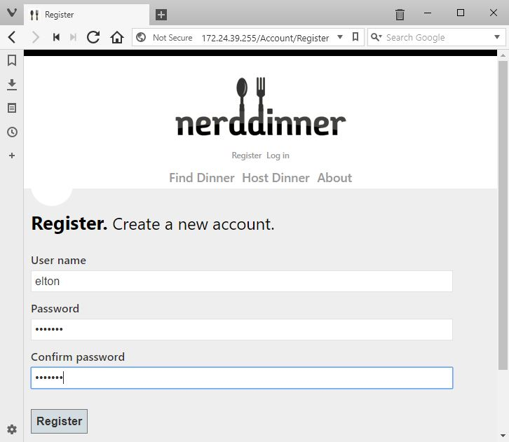 Registering a user account in the Nerd Dinner web container
