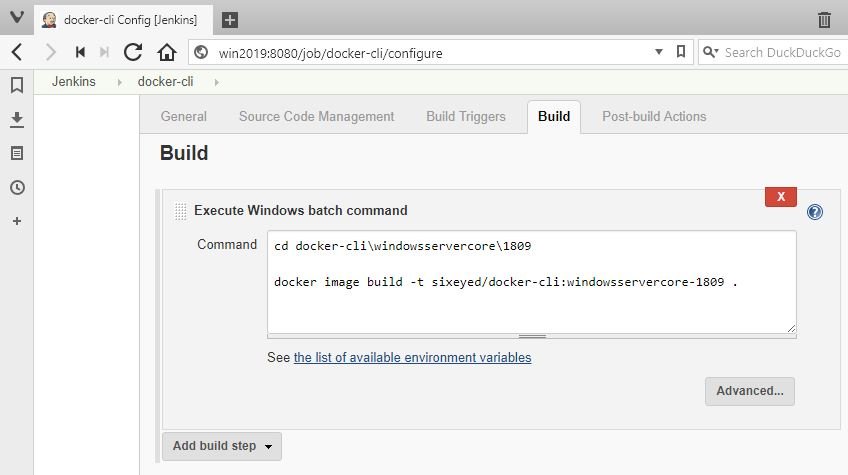 Building Docker images running Jenkins in a Docker container