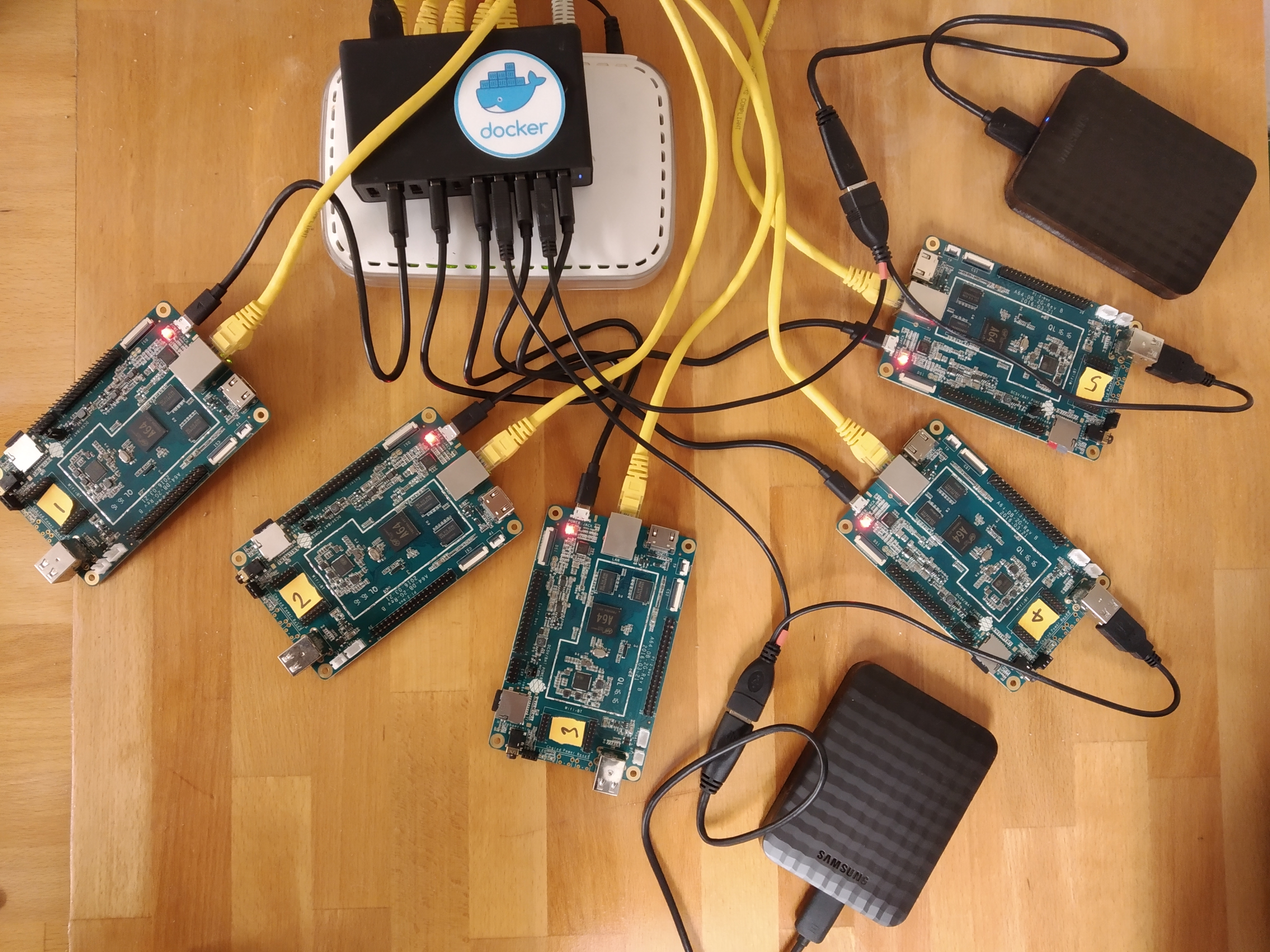 Some ARM64 boards joined into a Docker Swarm