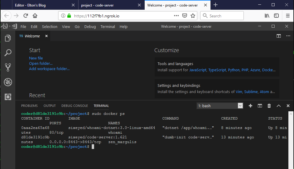 VS Code in Docker on a remote browser