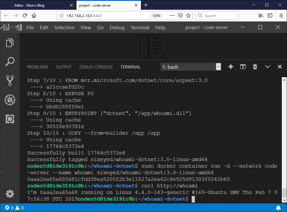 VS Code with Docker CLI in Docker